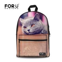 Forudesigns lindo 3d animal pet cat dog bolso de escuela para niñas Casual Kids Niños Mochila Mujeres mochila Escolar Mochila Escolar