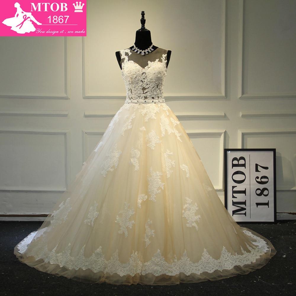 Elegant A-Line French Lace Wedding Dress with Detachable belt Champagne Robe De Mariage Vestido De Noiva Milla nova MTOB1703