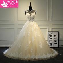 Elegante vestido de noiva de renda francesa com cinto destacável champagne robe de mariage vestido de noiva nova mtob1703