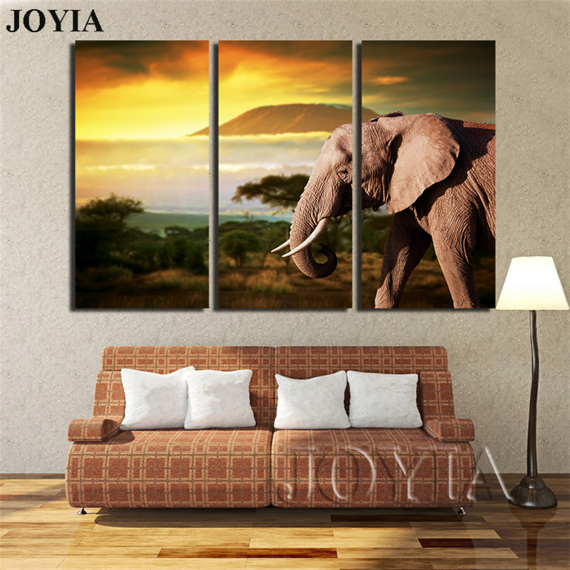 Home Decor Canvas Printings Elephant African Wildlife Savannahs Sunset Scene Canvas Photoprint Modern Painting For Living Office