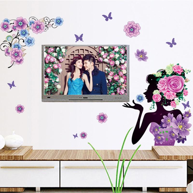 Diy Vinyl Wall Art Contact Paper : Woman flower paint beauty vinyl wall decal home sticker