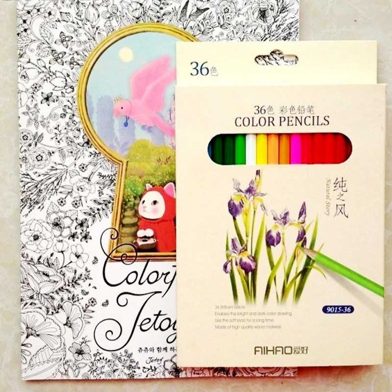 fashion english cat coloring book36 pencil for children adult colorful jetoy cute antistress painting drawing colouring books