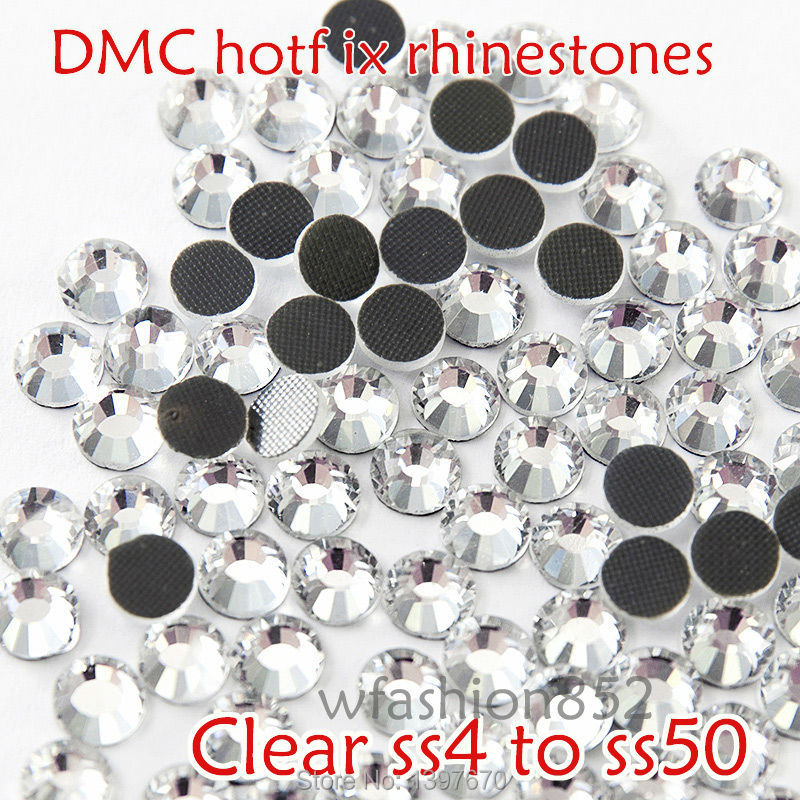 DMC Hotfix Rhinestone clear white colour SS4 TO SS50 Flat back rhinestone with glue for shoes dress accessaries Strass
