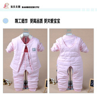 Baby Thermal Underwear Set Cotton Baby Bib Autumn And Winter Thicker Neonatal Cardigan Clothes