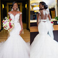 2019 New African Appliques Mermaid Wedding Dress Sexy Sheer Back Bridal Gowns Vestido De Novia