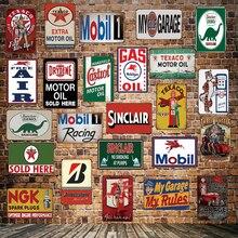 [ Mike86 ] TEXACO MOBIL Castrol Sinclair ESSO Motor oil Metal Sign Wall Plaque Poster Painting art Christmas Decor Art FG-518