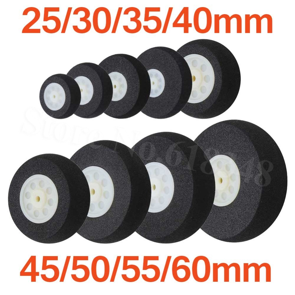Light Foam Tail Wheels Sponge 25mm  30mm  35mm  40mm  45mm  50mm  55mm  60mm For RC Remote Control Airplane Replacement Parts