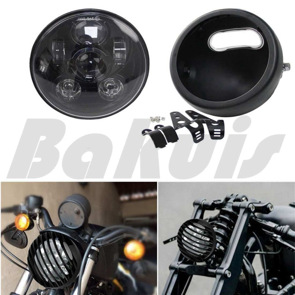 5-3/4 5.75Daymaker Projector LED Headlight&Led Headlight Housing Aluminum Grill Cover for Harley Sportster Dyna Iron 883 harley led daymaker headlights 5 75 inch hi lo beam projector headlight for harley dyna sportster 1200 48 883 trun signal lights