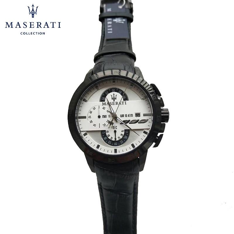 Maserati Quartz Wristwatches Hot Sale Real Leather Water Resistant Watch For Men Fashion Luxury Wrist Watches R8853123003 fashionable water resistant glow in dark wrist watch black white 1 x lr626