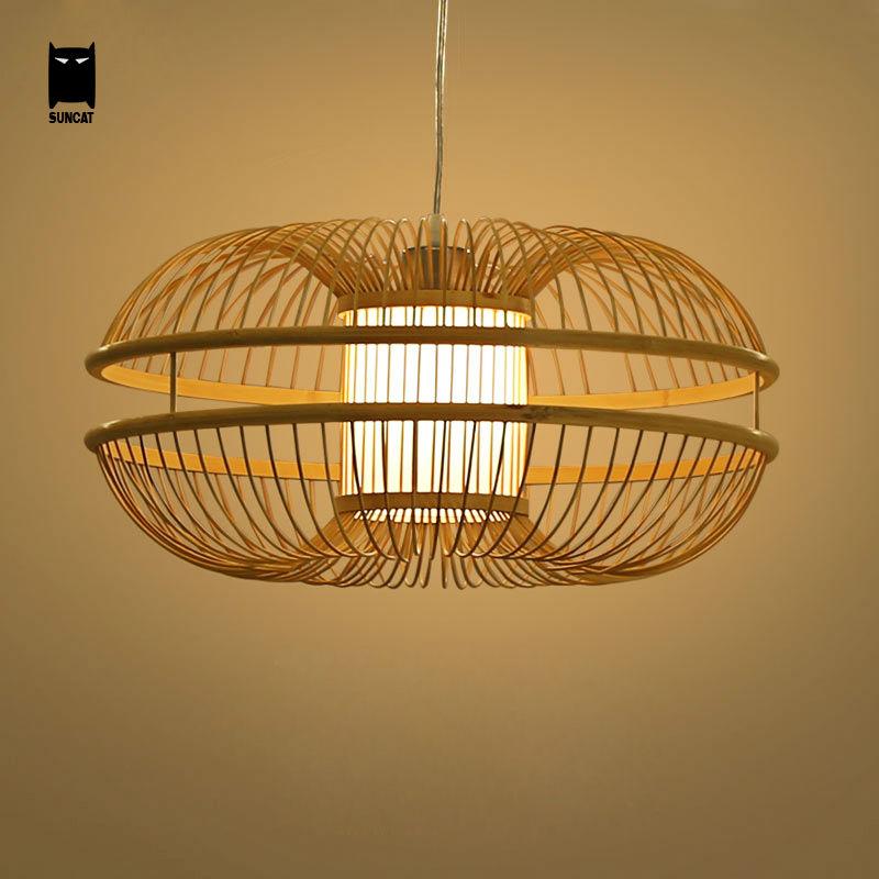 Bamboo Wicker Rattan Bud Pendant Light Fixture Rustic Japanese Modern Hanging Lamp Lustre Avize Luminairia Design