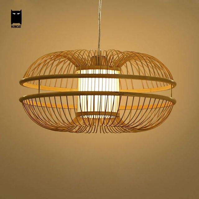 € 142.06 |Bambou osier rotin bourgeon suspension luminaire rustique  japonais moderne suspension lampe Lustre Avize Luminairia Design salon dans  ...