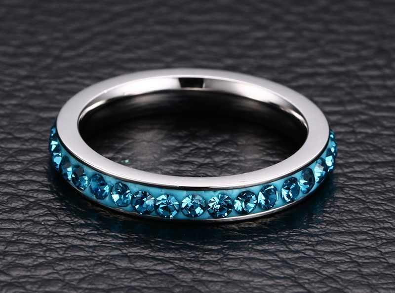 2018 anneaux réels nouveauté Engagement Anillos mode femmes cristal anneaux en acier inoxydable pour bijoux lumière livraison gratuite