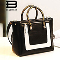 Fashion  Patent Leather Tote Bag With Gold Handle 100% PU Leather Women Shoulder Bag Rivet Famous Designers Brand Handbags 2015