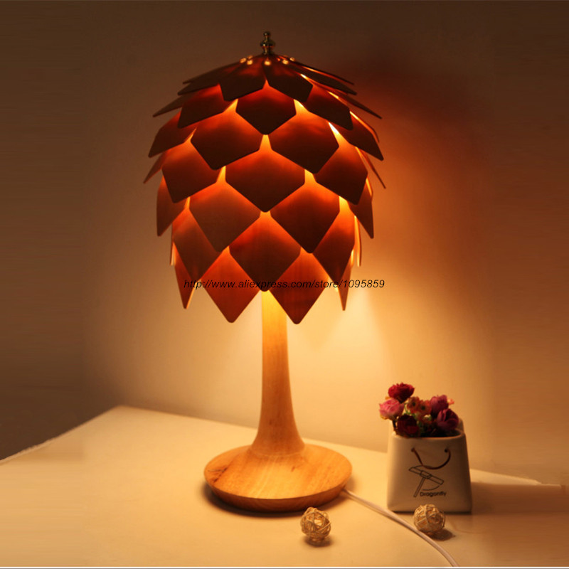 modern wooden tripod table lamp light wood color bedroom