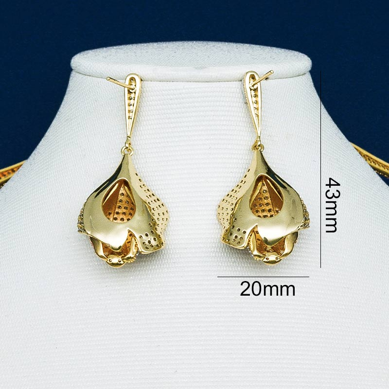 ModemAngel Rose Flower Super Shiny AAA Cubic Zirconia Women Wedding Bridal Necklace And Earring Copper Set Joias