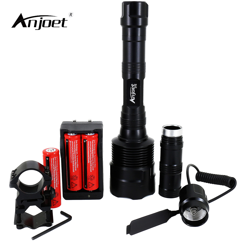 ANJOET LED Tactical Flashlight 6000Lm illumination Powerful XML 3xT6 5Mode Torch+18650 Battery+Charger+Remote Switch+Gun Mount Люмен