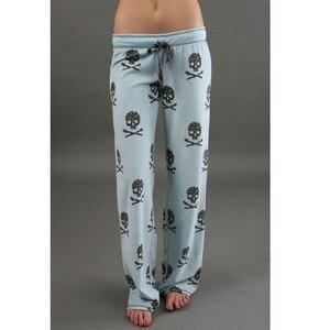 Новинка 2020, женские длинные штаны, повседневные широкие брюки с низкой талией, уличная одежда Харадзюку с принтом черепа, пижамные брюки для женщин