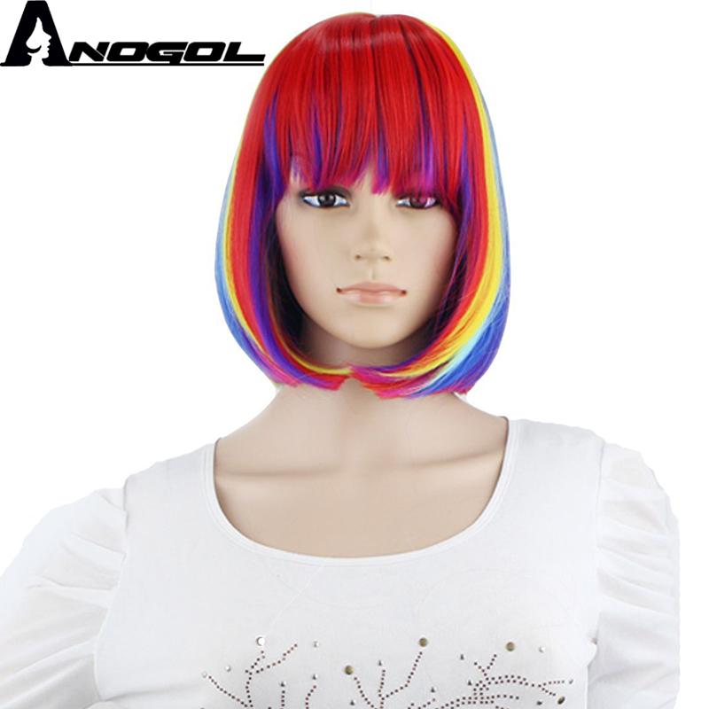 Anogol Short Straight Rainbow Dash Ombre Bob Synthetic Cosplay Wig with Bangs For Halloween Party