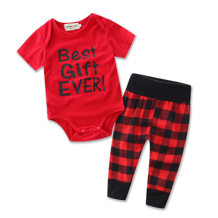 2017 BEST GIFT EVER Newborn Baby Clothes Red Short Sleeve Romper Bodysuit Lattice Pant Set Outfit Clothing Children Suit H482