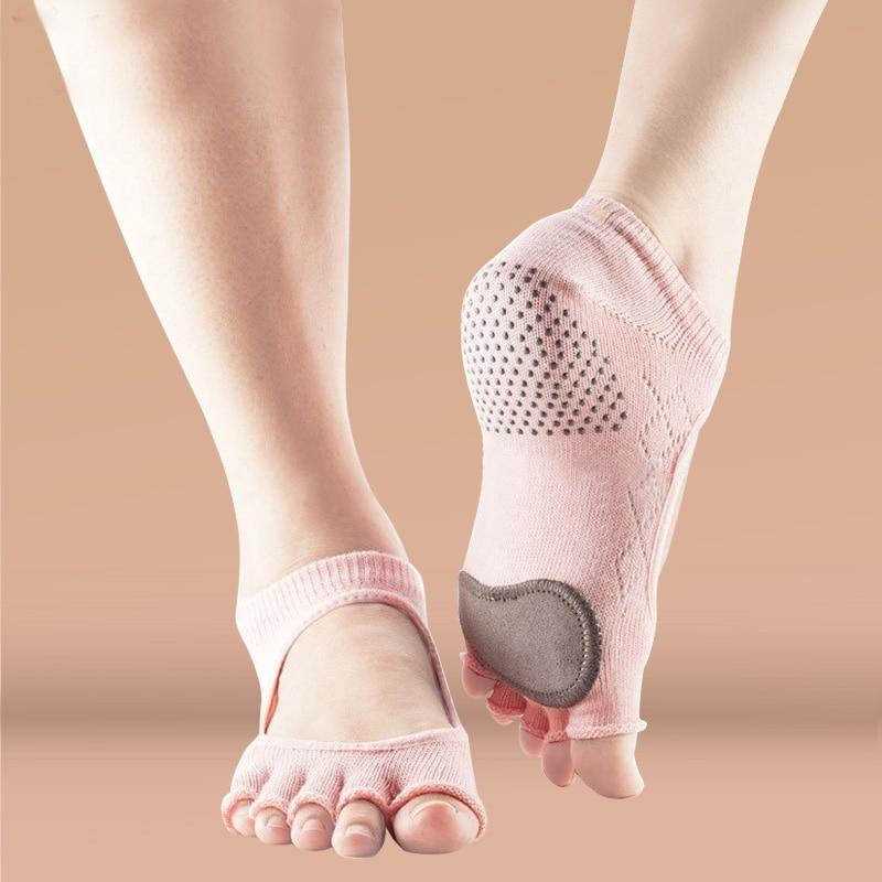 ★  Yoga Belly Dance Носок Хлопок Силикагель Non-Slip Чулок Короткие Носки с пятью Пальцами Фитнес Женщи ✔