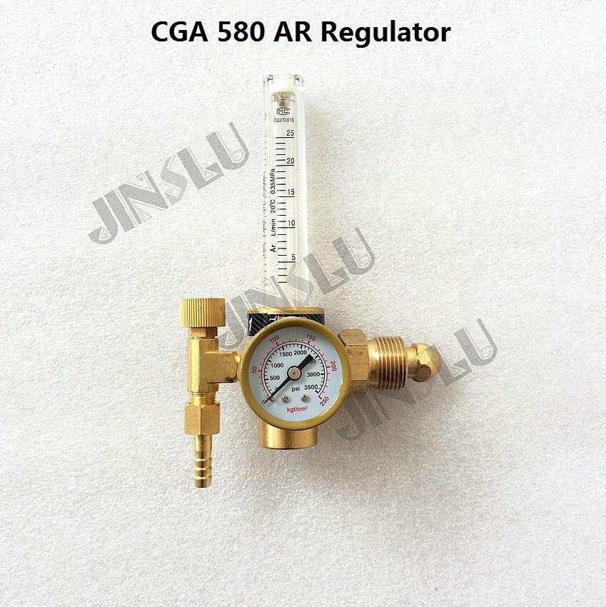 CGA 580 CGA580 Brass Argon Regulator AR Reduced Pressure Gas Flowmeter for Tig Welding Machine welding machine parts jwd cga580 argon regulator gas meter pressure gauge regulator