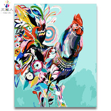 Digital Paints by numbers Chicken,horse,cattle,tiger Zodiac pictures coloring Paintings framed colorful animal paints