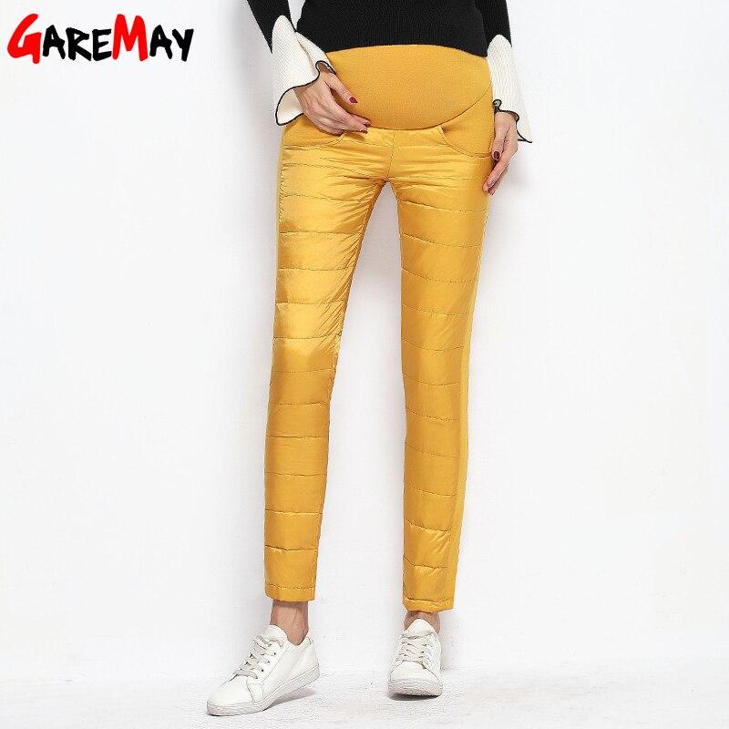 Теплые пуховые штаны для Для женщин зимние Высокая талия брюки утолщение бархат Causa Mujer эластичный пояс GAREMAY