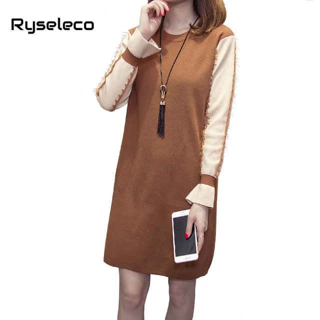New Fall Winter Women Vintage Loose Plus size Patches Flare Long Tassels Sleeve  Tunic Dresses Casual Basic Warm Straight Vestido d4e25f12233f