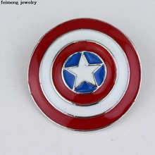 Commercio all'ingrosso Captain America Shield Rotonda Piccola Icona Pins Spilla Per Le Donne Regali Per Bambini Joyeria Smalto Esmalte Broche Zaino Distintivo(China)