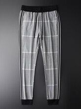 Minglu チェック柄パンツ男の高級弾性ウエストスリムフィットアンクル丈パンツプラスサイズ 4xl 糸染色チェックファッション男性カジュアルパンツ