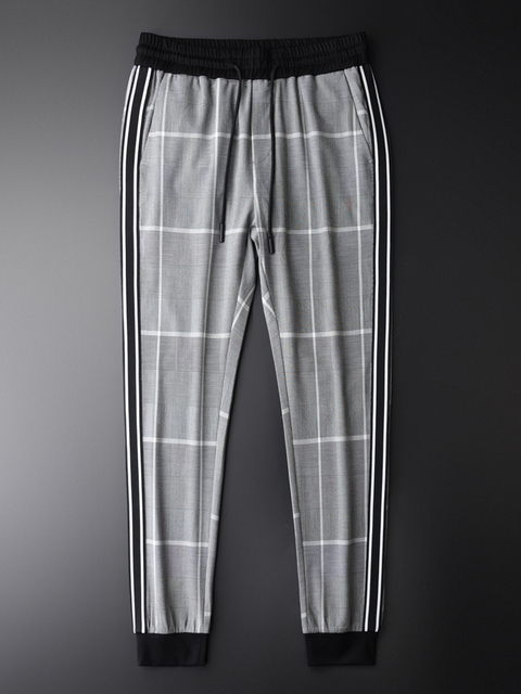 Minglu Pantalones a cuadros para hombre, pantalón a cuadros, de lujo, con cintura elástica, ajustado, hasta el tobillo, de talla grande, 4xl, de hilo teñido, informales