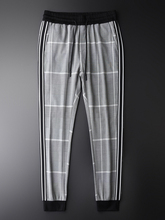 Minglu Plaid Pants Man Luxury Elastic Waist Slim Fit Ankle length Pants Plus Size 4xl Yarn Dyed Checks Fashion Men Casual Pants