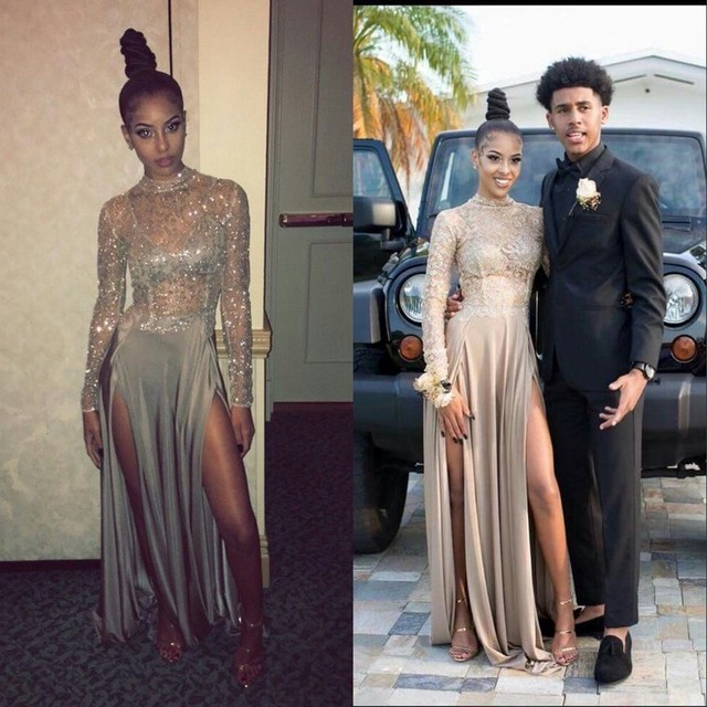 Silver High Neck Prom Dress Long Sleeves A Line Floor Length Shining