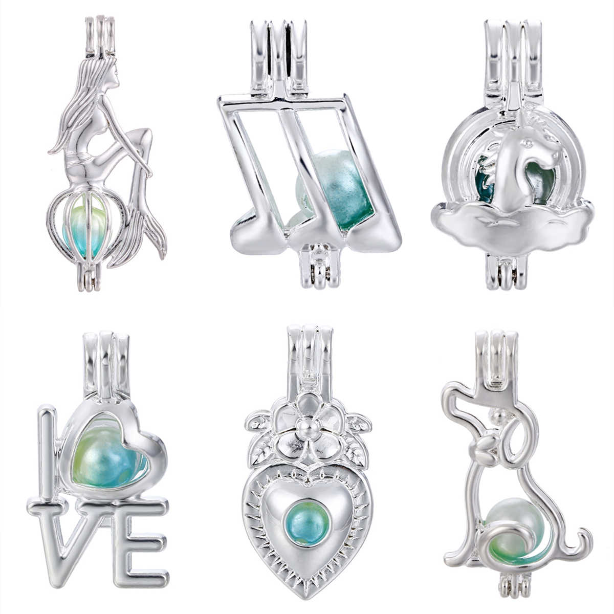 5pcs Bright Silver Mermaid Dog Love Pearl Cage Locket Pendant for Aroma Perfume Essential Oil Diffuser Bracelet Necklace Making