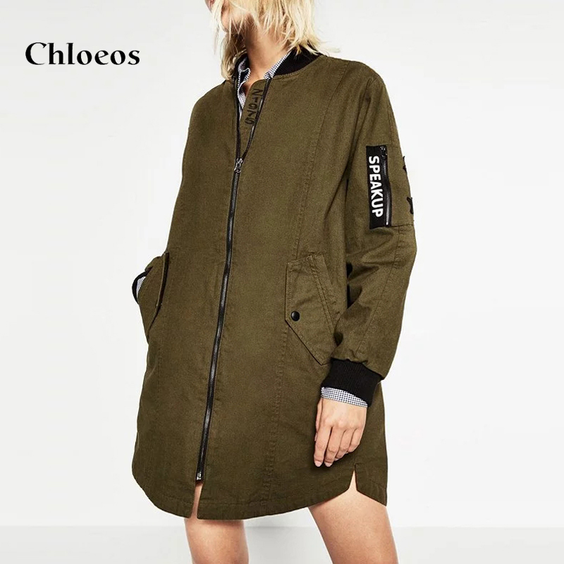 CHLOEOS Mode Frauen lange Bomber Jacke Damen Winter Lässig