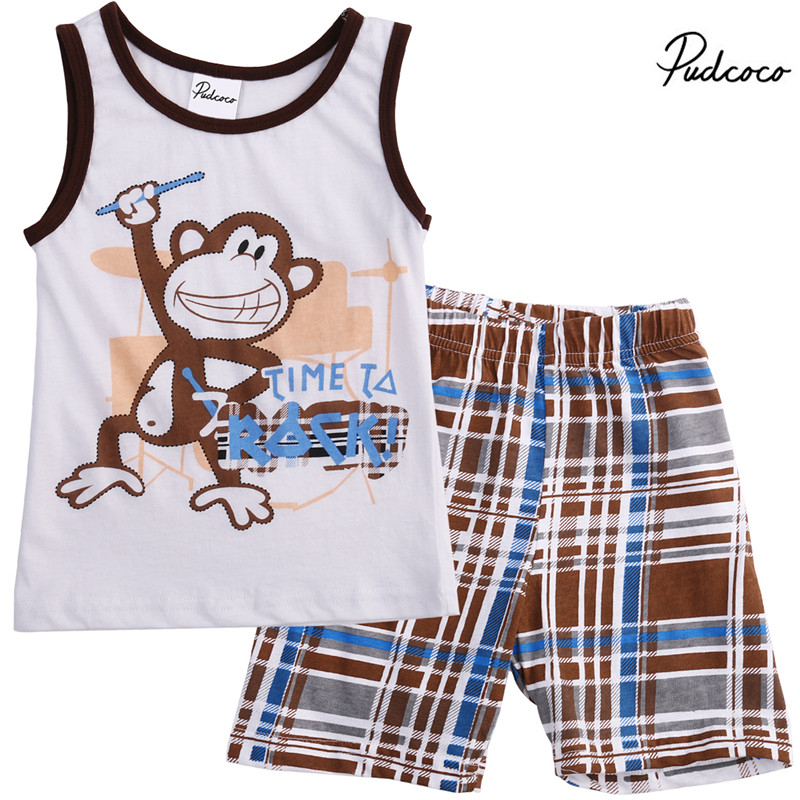 Enthusiastic Monkey Baby Boy Clothes Suit Autumn Sleeveless Boys Cotton Tank Tops Boys' Clothing grid Pants 2-pieces Outfits Making Things Convenient For Customers