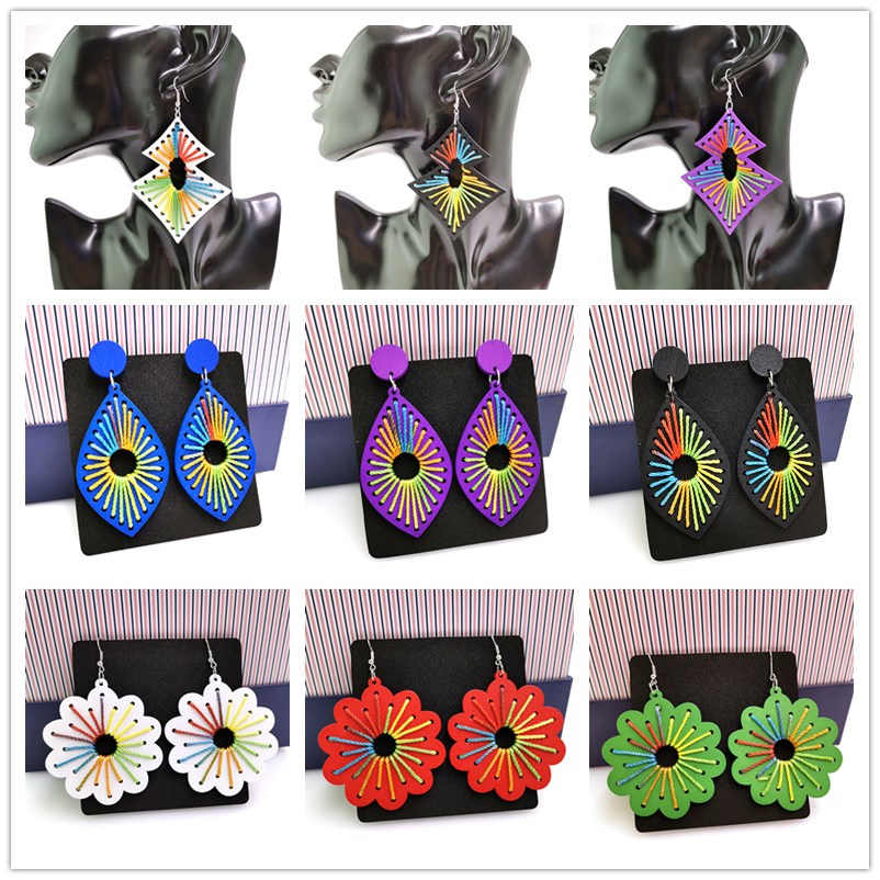 YD&YDBZ Colorful Drop Earrings For Women 2019 Fashion Wooden Earrings 18 Styles Red Purple White Jewelry Dangle Earring Trendy