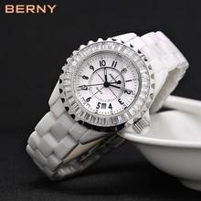 BERNY ผู้หญิงเซรามิกสีขาวนาฬิกากันน้ำญี่ปุ่นควอตซ์ relogio feminino ของขวัญที่ดีที่สุดสำหรับคริสต์มาสปีใหม่ 2316L