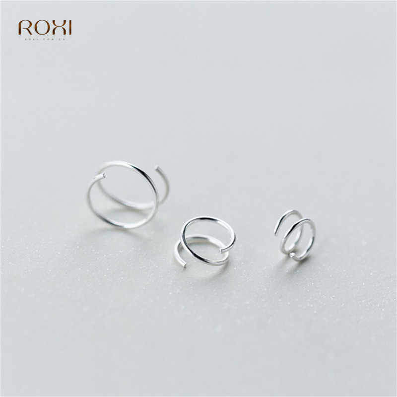 ROXI 100% 925 เงินสเตอร์ลิงต่างหูผู้หญิงบิดเกลียวหูกระดูกหัวเข็มขัดแหวน MINI คู่แหวนเจาะขนาดเล็กต่างหู
