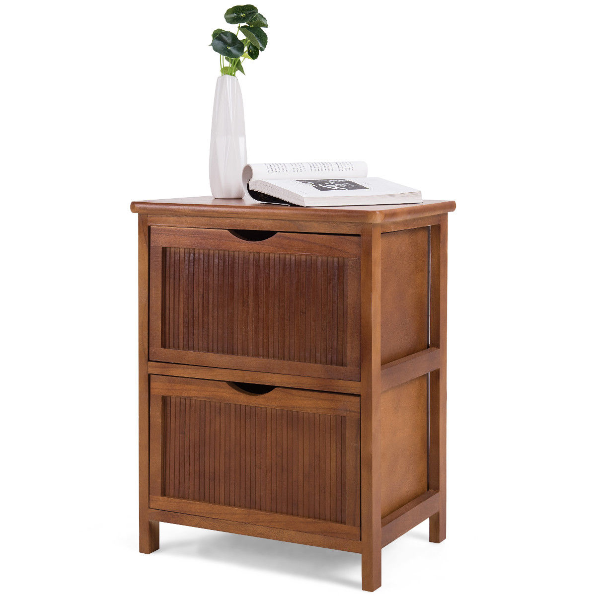 2 Drawers Nightstand Contemporary Vintage Bedside Table