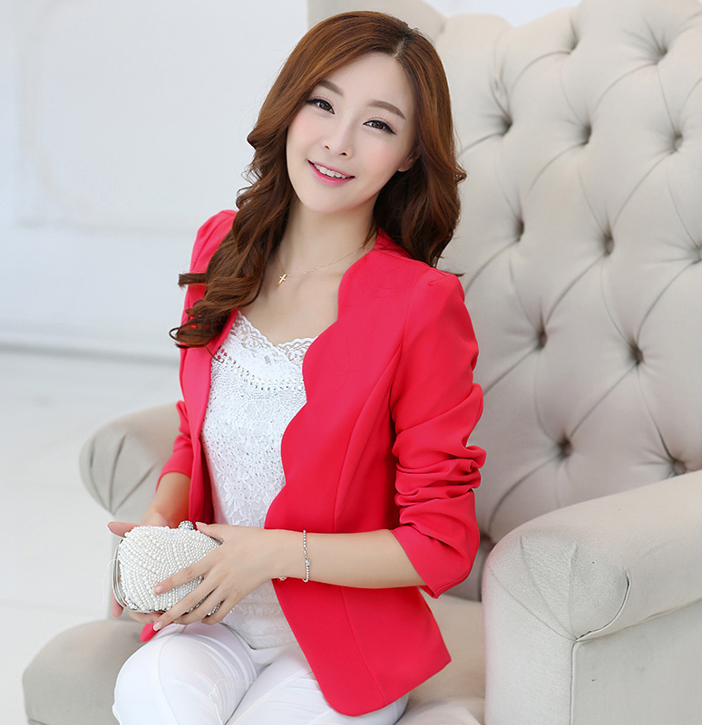 J63025 Spring Women Blazers Jackets Small Chiffon Suit Jacket Candy Color Long Sleeve Slim Suit Button Women Basic Jackets