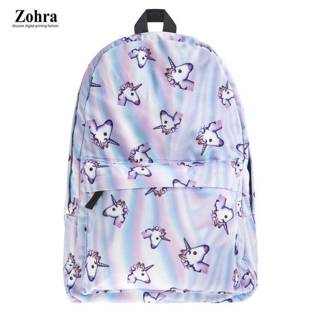 2017 novas Mulheres da moda Mochila unicórnio espaço de impressão 3D mulheres softback mochila de viagem Escola notebook mochila mochilas meninas