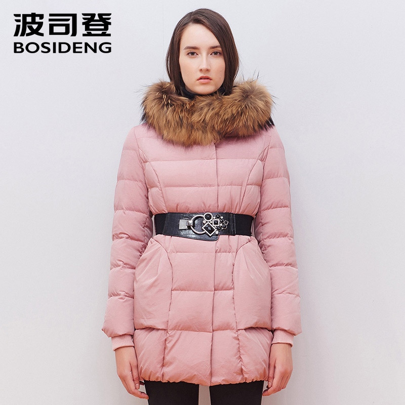 BOSIDENG new slim warm duck down jacket women coat winter windproof fur color outwear hoodie media-long thick coat B1501218