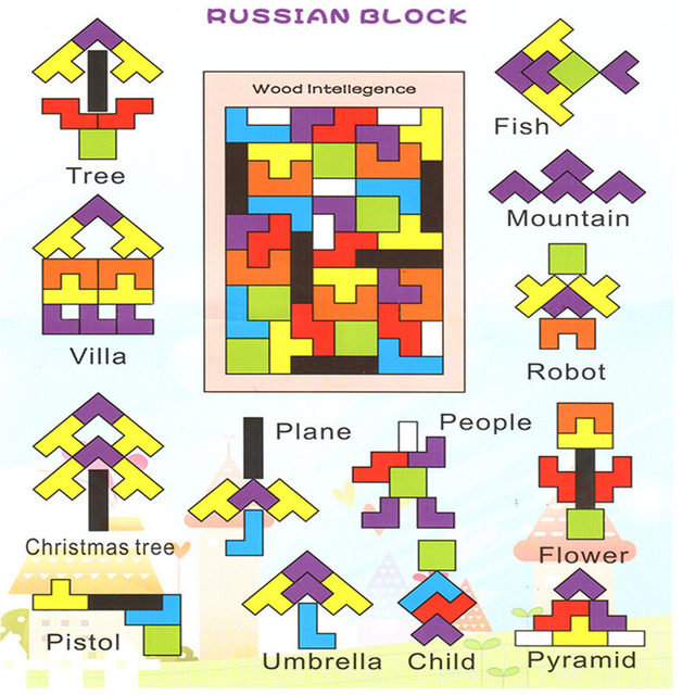 Tetris RB 76 children's educational wooden toys baby early childhood wooden jigsaw puzzle plot
