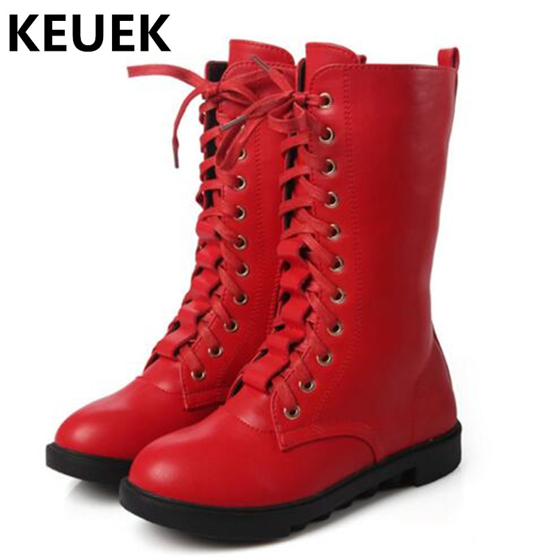 NEW Autumn Winter Children Motorcycle boots Girls Ankle Strap High Snow Boots Student Genuine Leather Mid-Calf Kids Shoes 044
