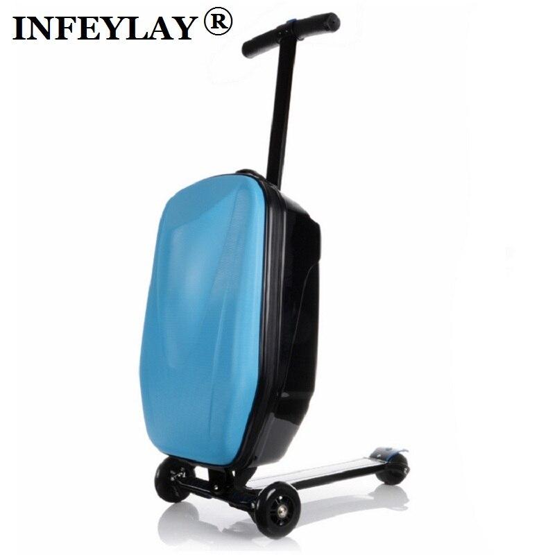 100% PC di modo 21 pollici studenti scooter valigia cool ragazzo trolley caso 3D estrusione bagaglio di Viaggi d'affari bambino scatola di Imbarco