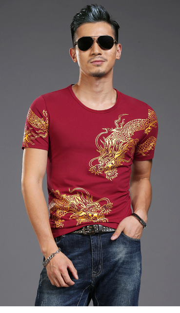 Bronzing 3d Dragon Totem New Print T-shirt Mens Short Sleeve T Shirts Male High Street Casual Wear For Slim Asia Size 4XL