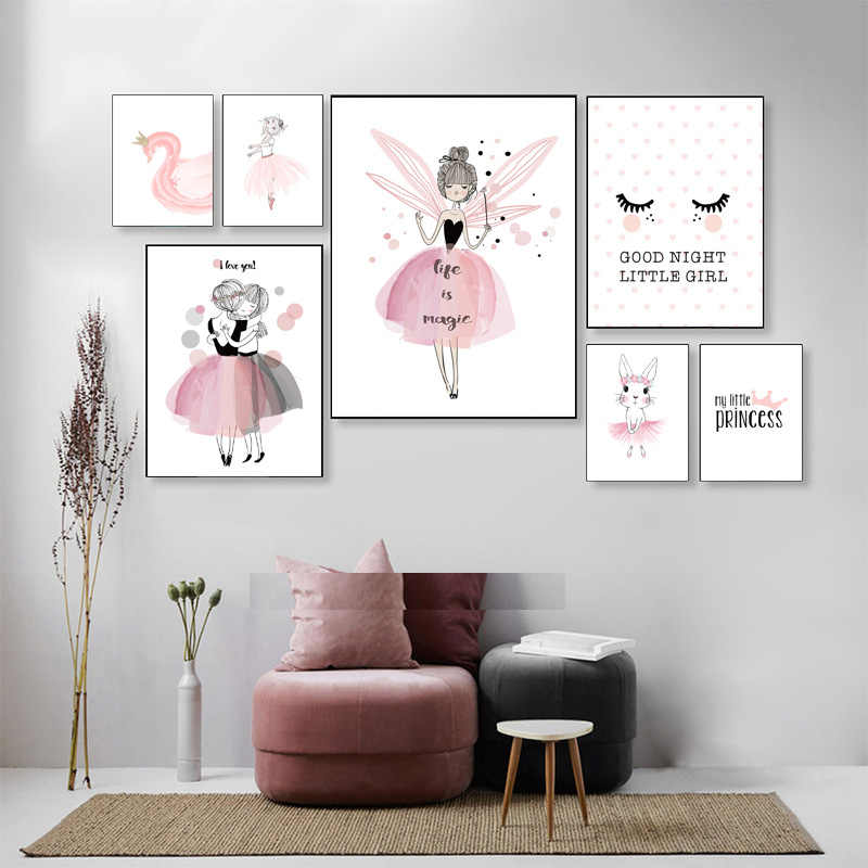 Pink Fairy Wall Art Canvas Painting