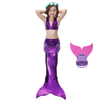Girl S Mermaid Tail Dress Cosplay Fish Costume Fashion 4 Pcs Children Swimsuit W Monofin Princess