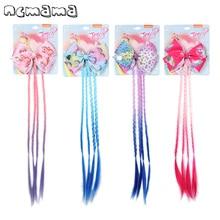 ncmama Hair Accessories 4.5 Unicorn Hair Bows Clips for Girls with Long Gradient Braid 2019 Handmade Sweet Girls Party Headwear ncmama crystal